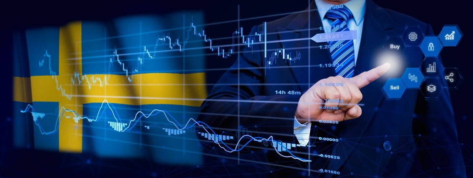 Businessman touching data analytics process system with KPI financial charts, dashboard of stock and marketing on virtual interface. With Sweden flag in background.